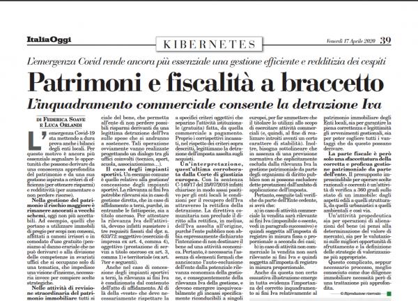 Articolo Kiberentes su Italia Oggi aprile 2020